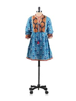 Blue Block Printed Flared Tunic With Contrasting Print Yoke - EKAA