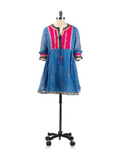 Blue And Pink Tunic With Gold Zari Trims - EKAA