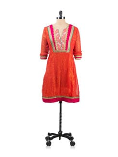 Deep Orange Tunic With Sleeves And Gota Trims - EKAA