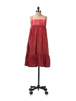 Dull Red Printed Dress - Desiweaves