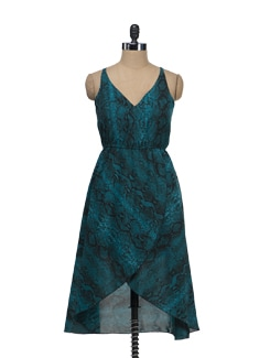 Teal Blue Printed Dress - Tops And Tunics