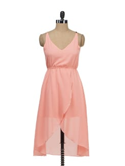 Peach Asymmetrical Dress - Tops And Tunics