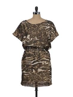 Animal Print Poncho Dress - Tops And Tunics
