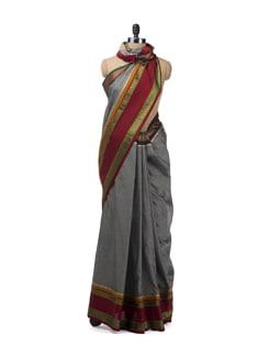 Grey Melange Ganga Jamuna Saree - Desiweaves