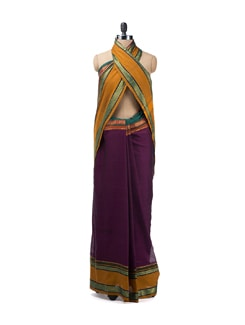 Deep Purple Ganga Jamuna Saree - Desiweaves