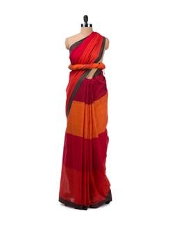 Colour Block Cotton Handloom Saree - Desiweaves