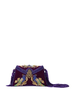 Purple Peacock Velvet Box Clutch - K22