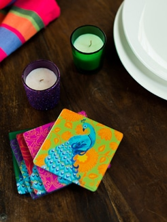 Peacock Dance Acrylic Coasters Set Of 6 - India Circus