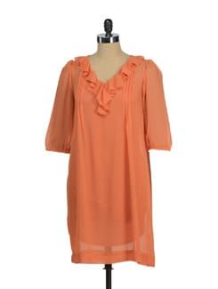 Ruffled Coral Dress - AND