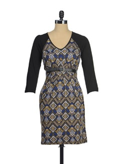 Stylish Blue Printed Dress - AND