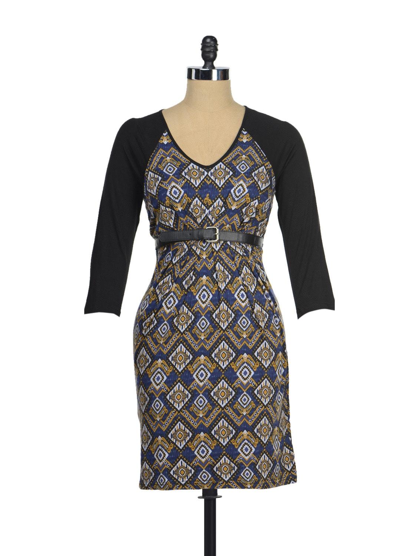 Stylish Blue Printed Dress - AND