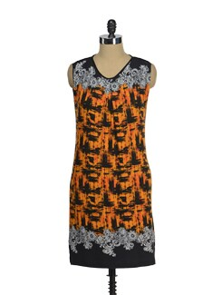 Black & Orange Printed Dress - AND
