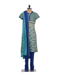 Elegant Blue Printed Churidar Suit - Global Desi