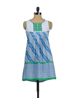 Blue & Green Kurta With Diagonal Stripes - Global Desi