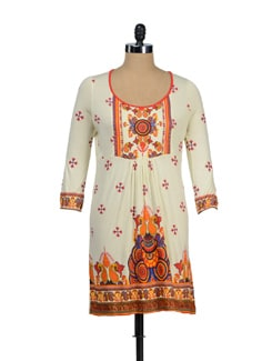 Off-White & Orange Full Sleeves Tunic - Global Desi