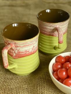 Ribbed Milk Mug - Red And Green - Set Of 2 - Cultural Concepts