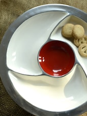 Condiment Platter With Three Sections - Red & White - Cultural Concepts