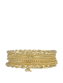 Set Of Textured Gold Bangles - Flaunt