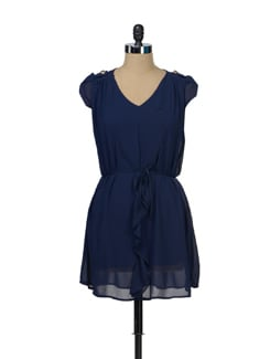 Navy Blue Georgette Dress - TREND SHOP