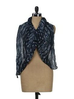 Abstract Striped Navy Blue Scarf - J STYLE