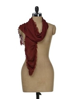 Maroon Scarf With Lace Border - J STYLE