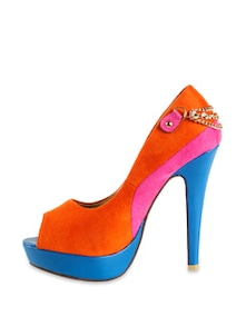 Colour Block Peep Toe Pumps