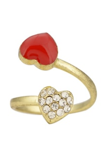 Gold & Orange Little Hearts Ring - Toniq
