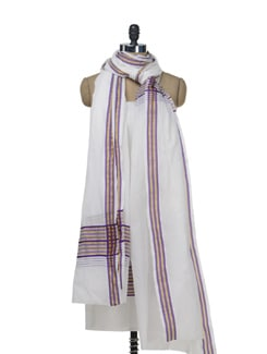 Set Of Cream And Purple Dupatta And Unstiched Kurta - MAKU