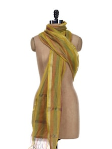 Yellow & Green Striped Dupatta - SONJATO SEN