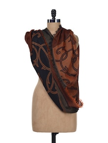 Black & Brown Reversible Jaquard Dupatta - SONJATO SEN