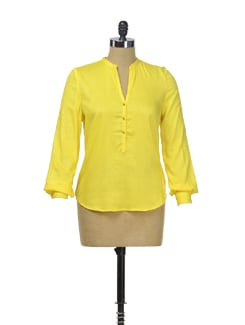 Sunshine Yellow Top With Ghungroo Buttons - Besiva