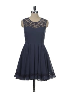 Navy Flared Dress - Besiva
