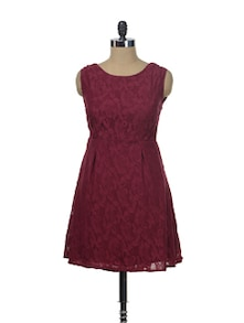 Maroon Structured Lace Dress - Besiva