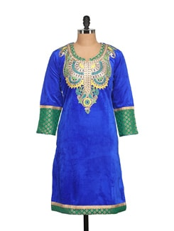 Royal Blue Velvet Kurta With Brocade Trims - NAVYOU