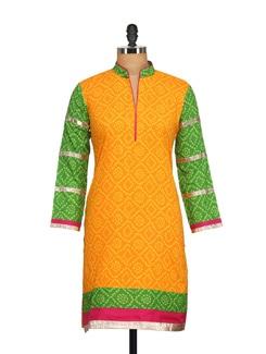 Green & Yellow Bandhini  Print Kurta - NAVYOU