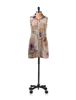 Brown Floral Print Tunic Dress - ENAH