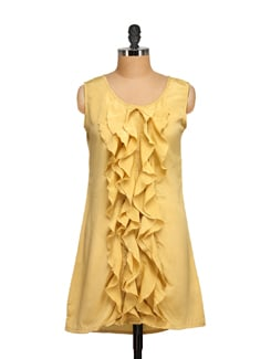 Ruffled Yellow Sleeveless Dress - Tapyti