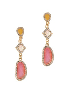 Pink Drop Stone Studded Earrings - THE PARI