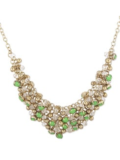 Beaded Neckpiece In Green And Gold - THE PARI