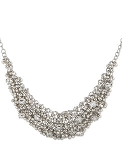 Clustered Crystal Silver Necklace - THE PARI
