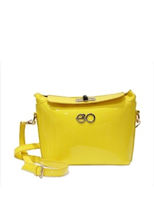 Yellow Patent Frame Bag With Sling - E2O