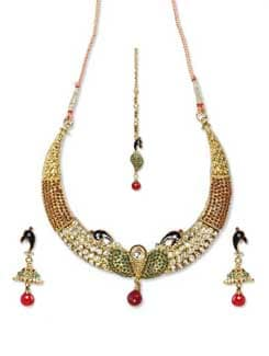 Golden Peacock Jewellery Set - Sparkling Deals