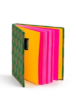 Green Square Brocade Notebook With Pink Pages - SUNDARBAN