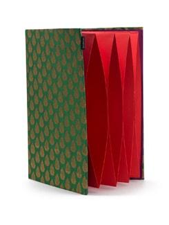 Green Brocade Pocket Folder With Red Pockets - SUNDARBAN