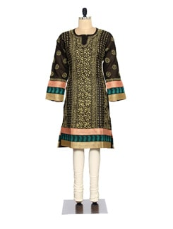 Elegant Black Embroidered Kurta - Ada