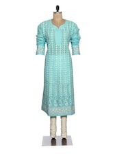 Elegant Blue Embroidered Kurta - Ada