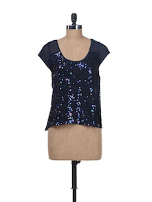 Sequined Navy Blue Top - Kaxiaa