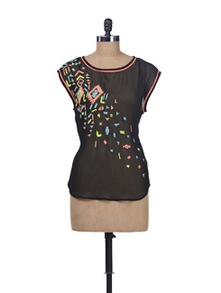 Neon Sequins Embellished Black Top - Kaxiaa