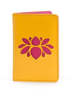 Yellow And Pink Lotus Cut-out Passport Case - SUNDARBAN