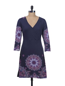 Navy Blue Overlap Dress - Kaxiaa